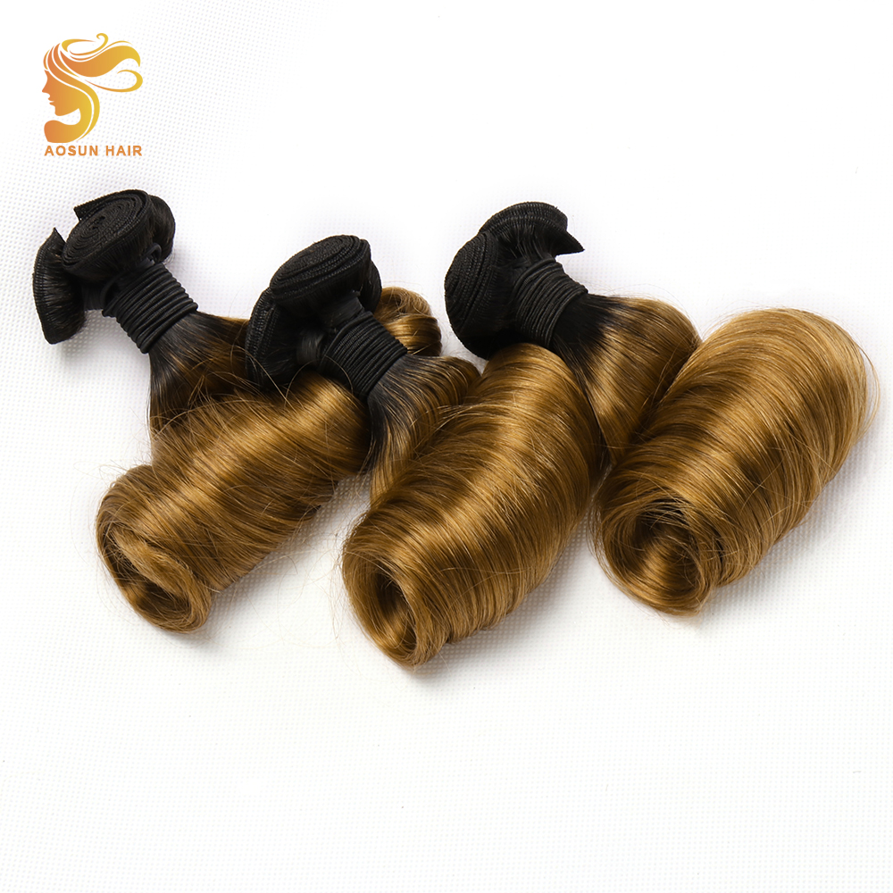 "AOSUN HAIR Brazilian Double Drawn Hair 2 Tone 3 in 1 Fumi hair bouncy Egg curl 1/3PCS Ombre Color Human Remy hair Bundles 10 20""-in Hair Weaves from Hair Extensions & Wigs    1"