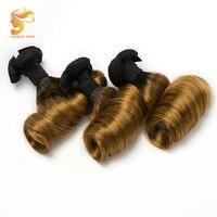 AOSUN HAIR Brazilian Double Drawn Hair 2 Tone 3 in 1 Fumi hair bouncy Egg curl 1/3PCS Ombre Color Human Remy hair Bundles 10 20