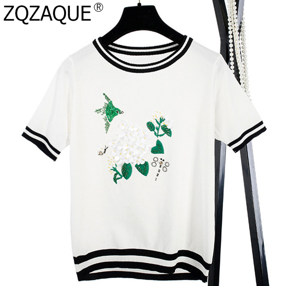 Luxury Designer Fashion Beading Flower And Bird Pattern Women's Knitted T-Shirts Lady's Casual Summer Tops T Shirts For Girl