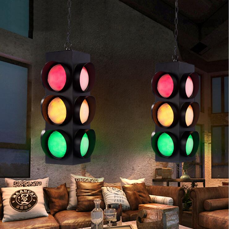 Honesty Industrial Style Creative Restaurant Chandelier Bar Traffic Light Signal Chandelier Creative Led Glass Lighting Lamps.