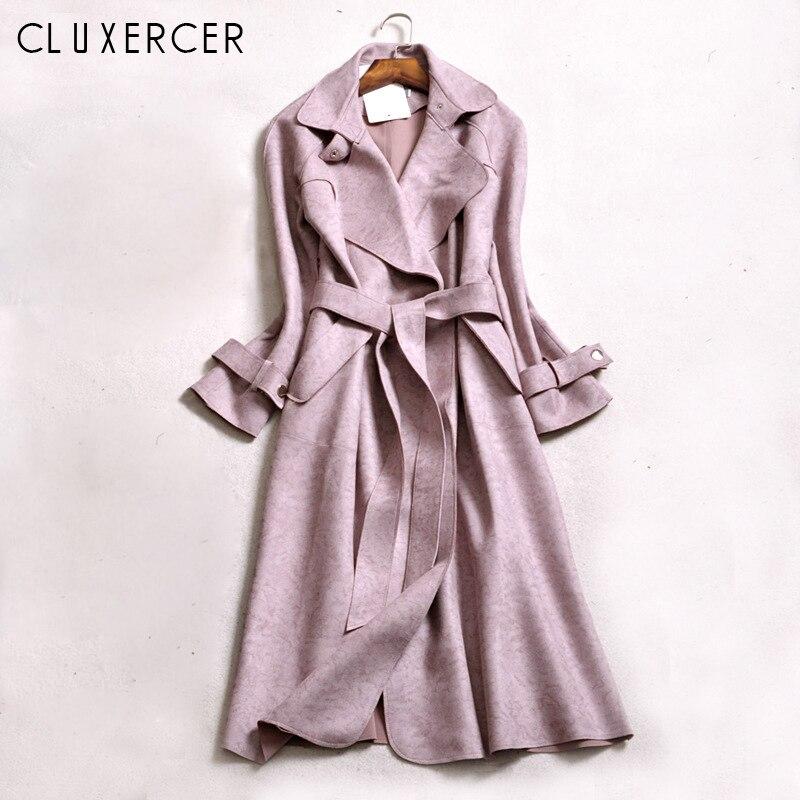 Pink Trench coat female 2019 New Plus size Elegant Solid Long Cardigan trench coats Slim windbreaker trincheira casaco feminino