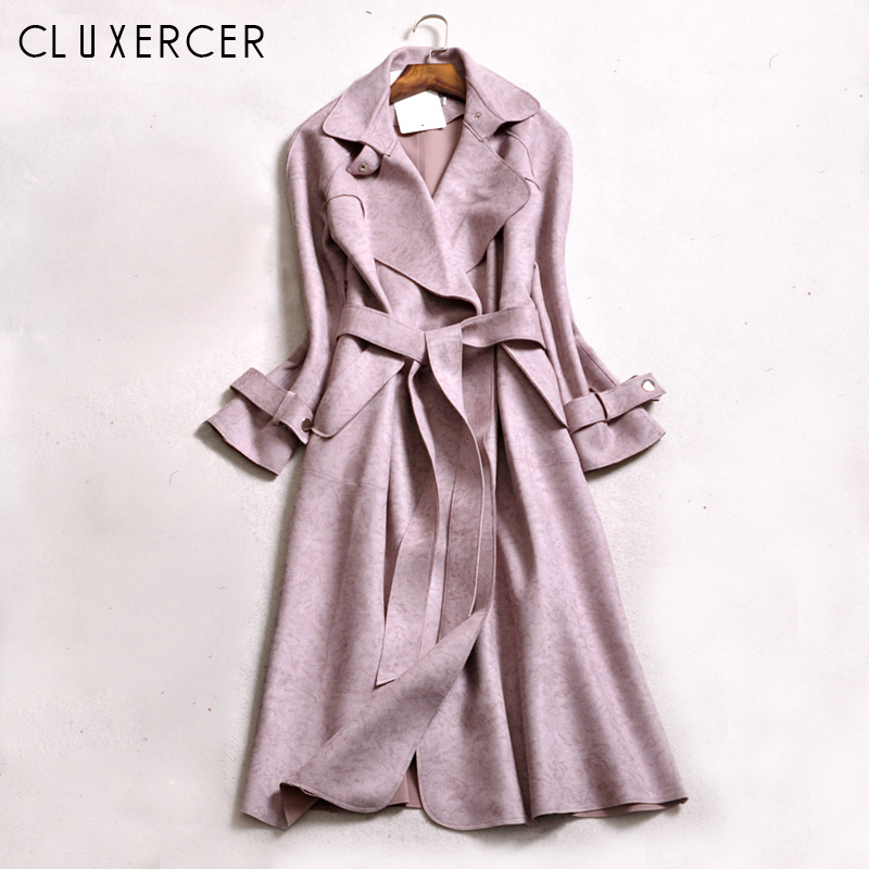 Pink   Trench   coat female 2018 New Plus size Elegant Solid Long Cardigan   trench   coats Slim windbreaker trincheira casaco feminino