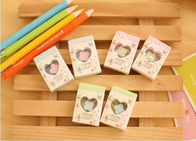 1 Pcs New  Lovely Heart  Pencil Eraser  Hollow Out For Students School Supplies Gifts Korean Papelaria