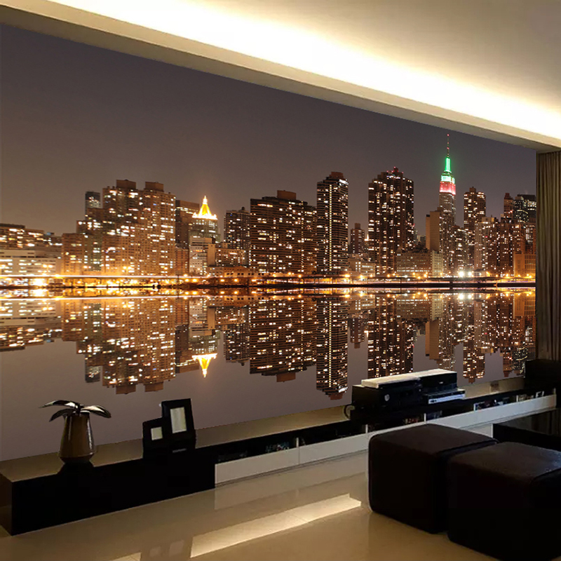 De alta calidad de papel pintado con foto 3D ciudad de noche en una sala de TV telón casa decoración Mural papel de pared para dormitorio paredes 3D Papel tapiz no tejido de estilo europeo papel tapiz clásico rollo púrpura/gris papel tapiz de lujo papel de pared floral papel de pared V1