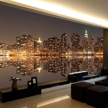 High Quality Custom 3D Photo Wallpaper City Night View Living Room TV Backdrop Home Decor Mural Wallpaper For Bedroom Walls 3D custom league of legends wallpaper 3d game photo wallpaper boys bedroom bar tv backdrop 3d bricks wallpaper ashe frost archer