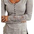 2015 New Fashion Women T-shirt Long Sleeve Lace Patchwork T shirt Women Tops Slim Casual Top Shirts Women Clothing Plus Size