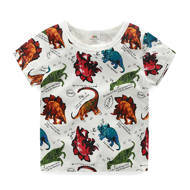 2018 Summer 2 10 Years Old ChildrenS Birthday Gift Clothing Baby Boys Kids Basic Dinosaur Print Short Sleeve Tee T Shirt Tops In Shirts From Mother