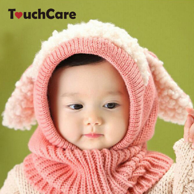13b4af48017 TouchCare Baby Winter Hat Infant Rabbit Ears Knitted Caps Newborn Hooded  Scarf Toddler Girl Boy Warm
