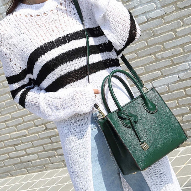 91d7a89141b4 Women PU Leather Handbags Ladies Large Tote Bag Female Square Shoulder Bags  With Lock Famous Brand
