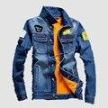 Осень И Зима мужчина Ватки джинсовая куртка промывной воды высокого качества мужской slim с коротким дизайн джинсовой cfashion верхняя одежда