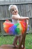 Dziecko rainbow fluffy tiul dzieci dzieci dziewczyny tutu sukienka dziewczyny krótkie kostium tkaniny ślubne suknia balowa party ballet pettiskirt