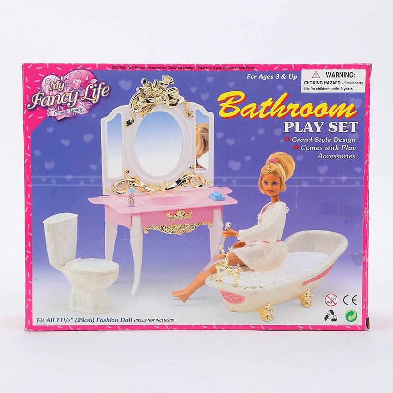 Case For Barbie Bathroom Furniture Accessories Doll Gift Set Girl Children Toys Children Play