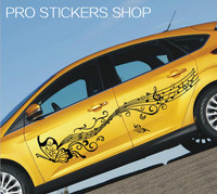 Reflective Personality Music Score Notes Butterfly Car Styling Golf 7 Cars Stickers Removable