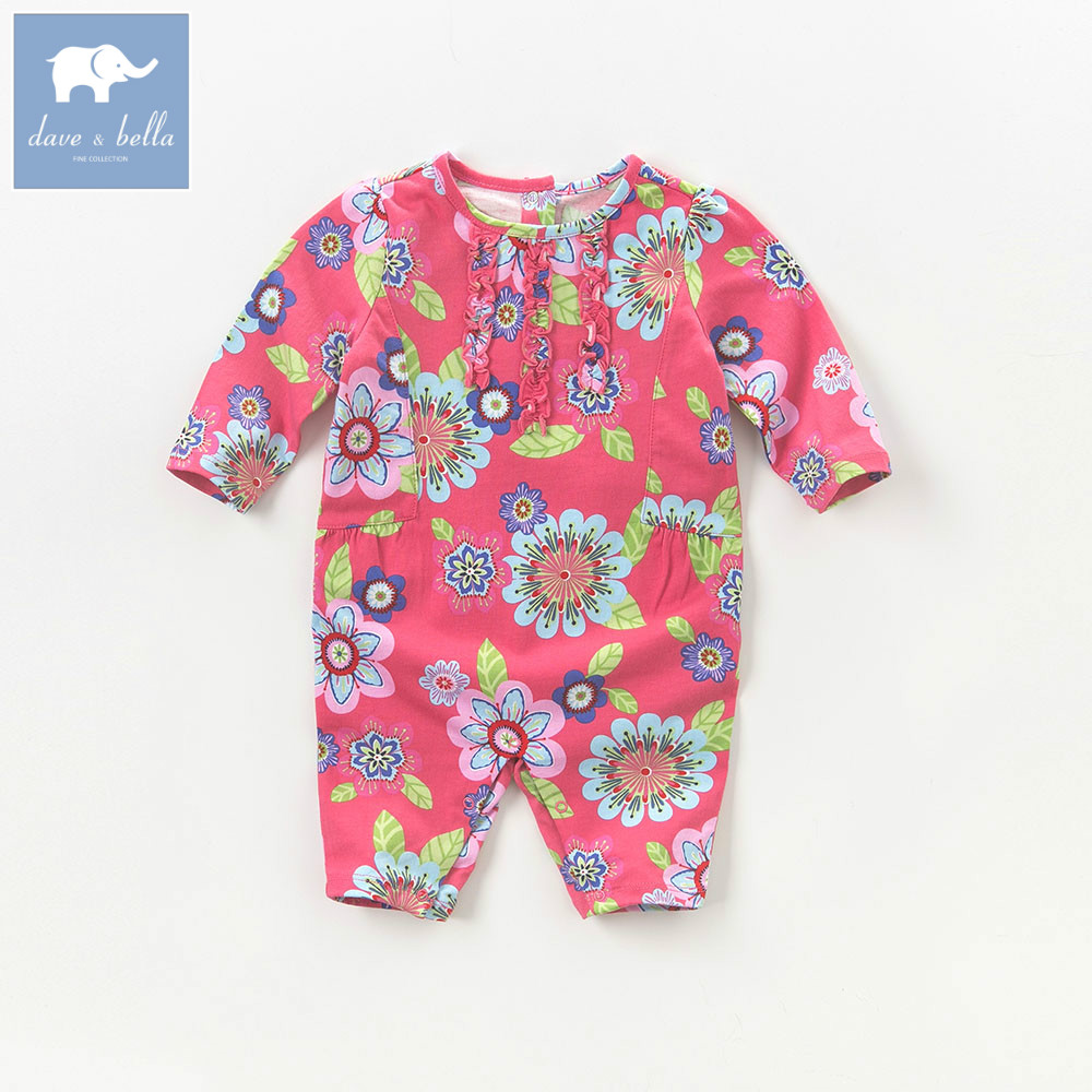 DB5757 dave bella autumn new born baby cotton romper infant clothes girls floral cute floral romper baby 1 pieceDB5757 dave bella autumn new born baby cotton romper infant clothes girls floral cute floral romper baby 1 piece