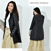 Fashion Winter Ultra Light Down Jacket 90% Duck Down Hooded Jackets Long Warm Slim Coat Winter Jacket Women Parka