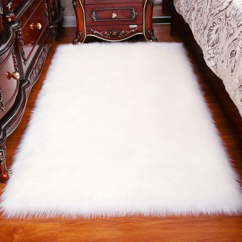 ארוך שיער מוצק שטיח סלון דקו מלאכותי עור מלבן רך Mat Pad אנטי להחליק כיסא ספה כיסוי רגיל אזור שטיחים