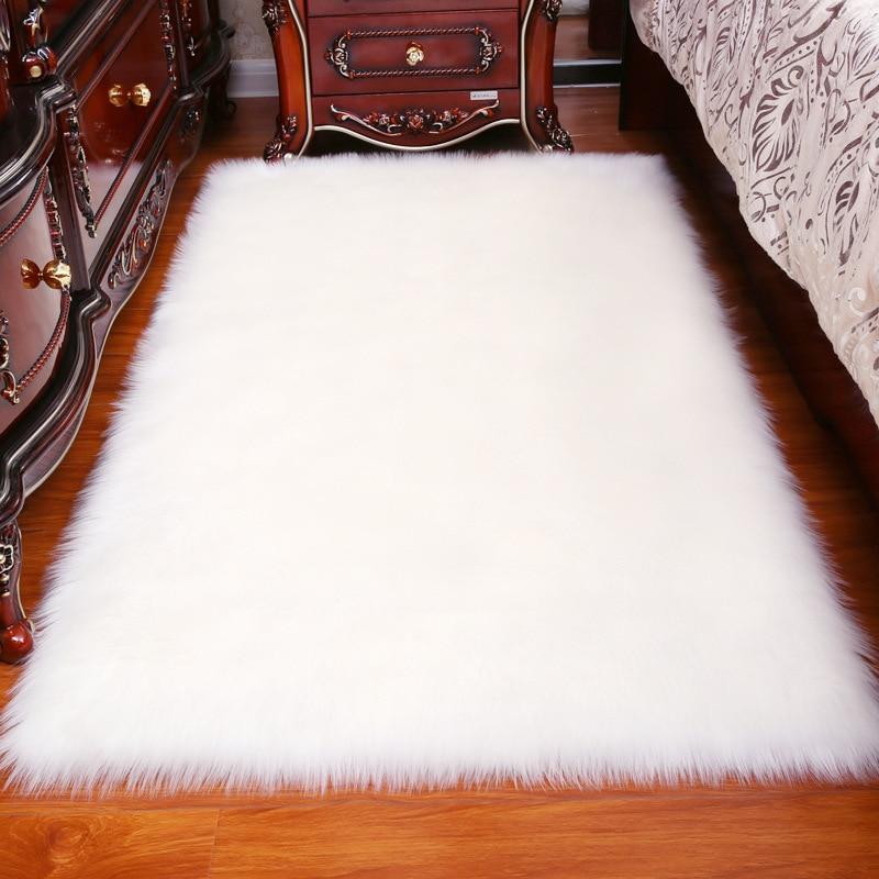Long Hair Solid Carpet  Living Room Deco Artificial Skin Rectangle Fluffy Mat Pad Anti-Slip Chair Sofa Cover Plain Area Rugs
