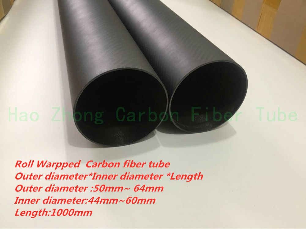 3k Carbon Fiber Tube 50mm 55mm 60mm 64mm X1000mm 1M Roll Wrapped Light Weight High Strength