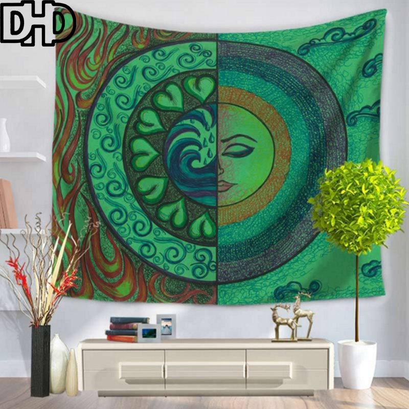 DHD Sun Pattern Hanging Tapestry Rectangle Tapestry Wall Hangings Moon Printed Wall Tapestry Abstract Tapestries