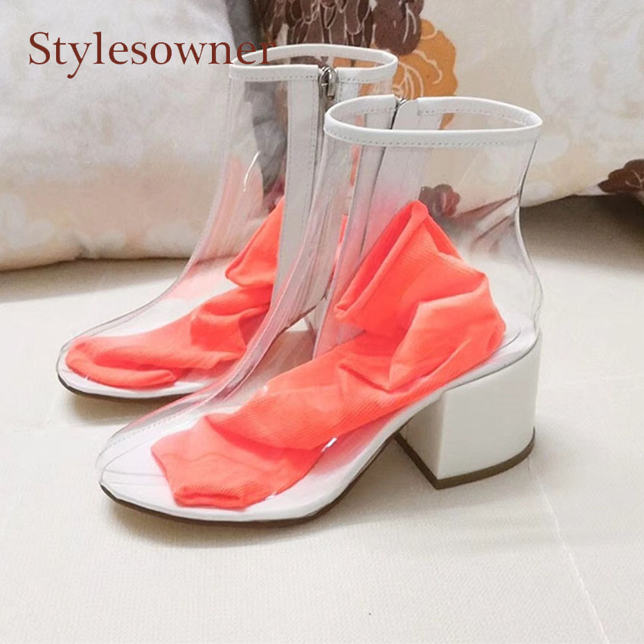 Stylesowner transparent shoe women short boots round toe chunky heel colorful sock crystal pvc women ankle boots 2018 new design