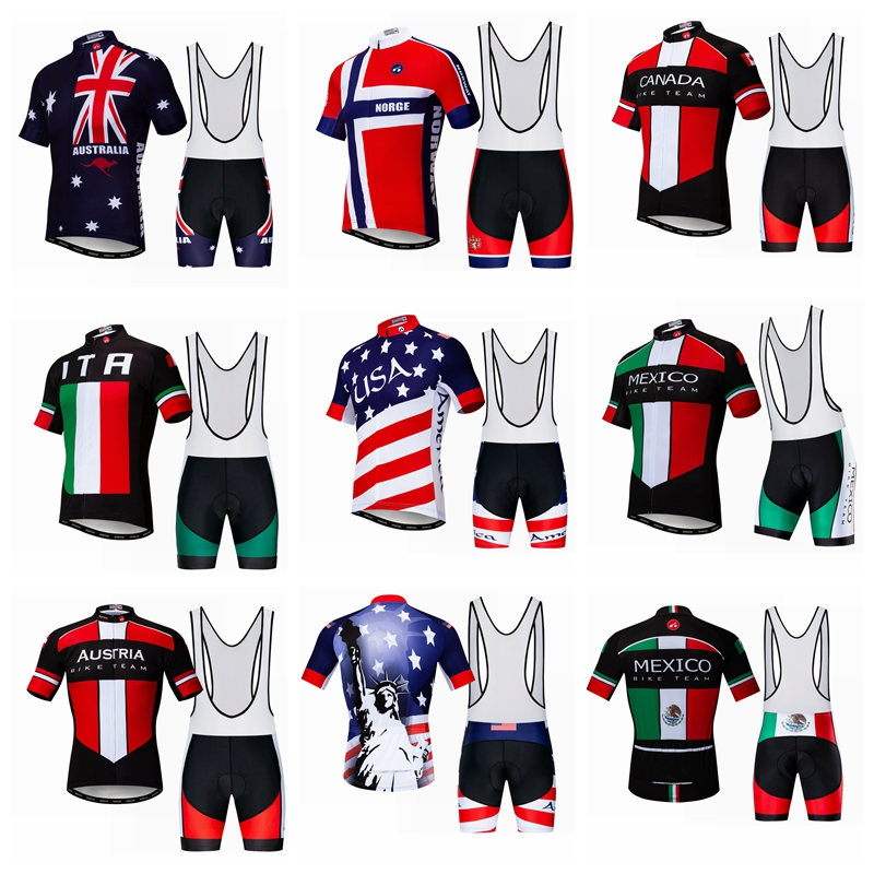 Men Cycling Jersey Set Australia Canada Mexico Norway USA Italy Austria Short Sleeve MTB Bike Bicycle Shorts Maillot Ciclismo