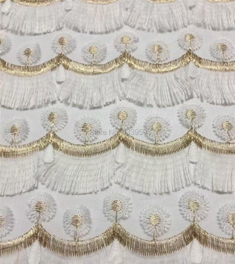 ADF161 blanco (5 yardas/lote) hilo dorado de encaje africano, tela de encaje textil con apliques, tela de encaje francés de 4 colores de alta calidad-in encaje from Hogar y Mascotas    3