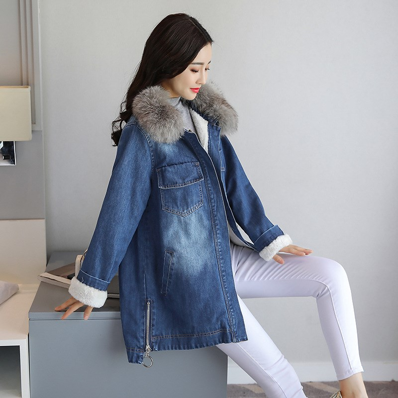 Fashion Winter Big Fur Collar Jeans Jacket Women Packets Long Lamb Overcoats Casual Plus Size Blue Thicken Denim   Parkas   Outwear