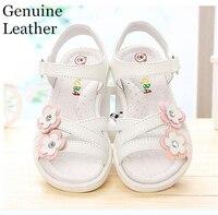 Été 1 paire fille Véritable fille En Cuir Enfants Sandales longueur intérieure 16.1-23.5 cm, Super qualité chaussures blanc et rose et bleu