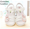 Summer 1pair girl Genuine Leather girl Children Sandals inner length 16.1-23.5cm ,Super quality shoes white&pink&blue