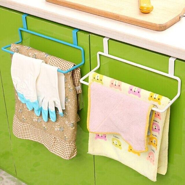 Double Pole Towel Rail Hanger Bar Holder Kitchen Cabinet Cupboard Door  Hanging Shelf Towel Bathroom Accessories