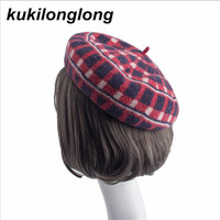 Kukilonglong Woolen Berets For Women Plaid Printed High Quality Caps For Girls Warm 2017 Winter Casquette