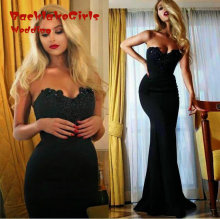 New Mermaid Black Party Elegant Floor-Length Off the Shoulder Sweetheart Custom Made Evening Dresses 2017
