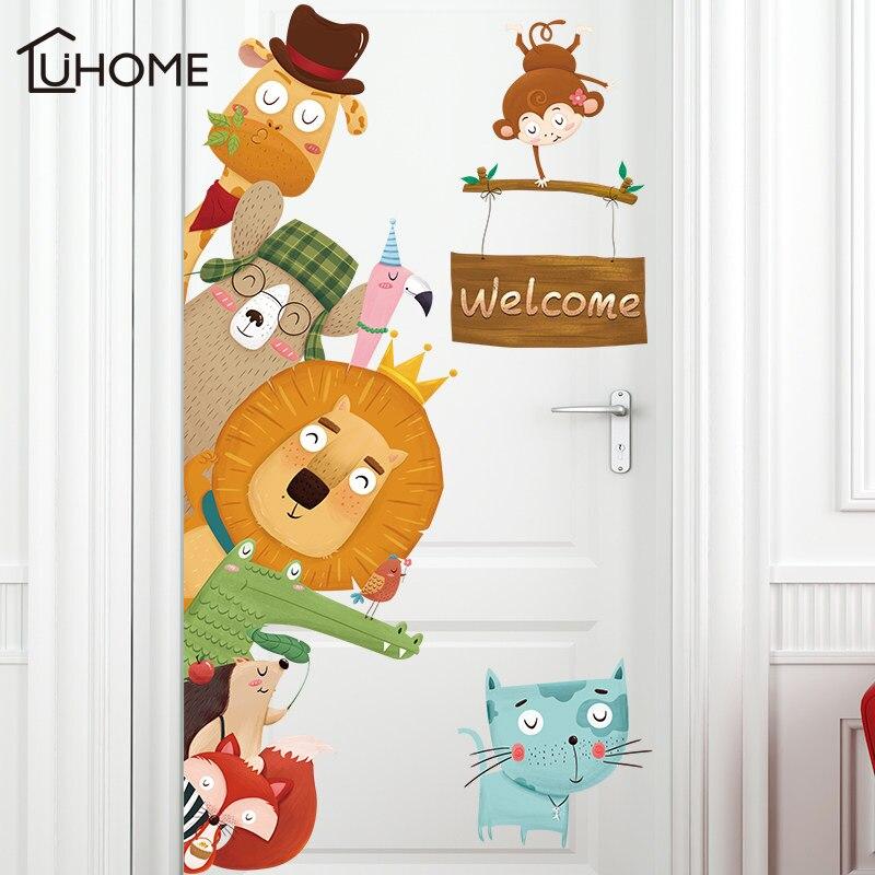 Dogs Cats Lion 3D Wall Sticker Door Window Wardrobe Fridge Decorations for Kids Room Home Decor Cartoon Animal Art Vinyl Decal in Wall Stickers from Home Garden