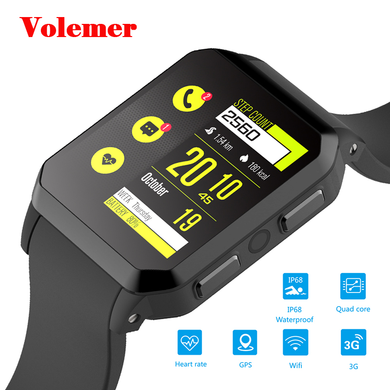 Volemer 3G Android Smart Watch IP68 Waterproof GPS Android 5.1 MTK6580 512MB+8GB Support SIM Card Smartwatch for Android IOS volemer di01 smart watch 1gb 16g android 5 1 heart rate monitor ip67 support 3g wifi gps sim card mtk6580 smartwatch android ios