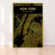 Vertical Rectangle American Cities Gold Maps Print on Canvas New York Boston City Map Posters Printings for Living Room