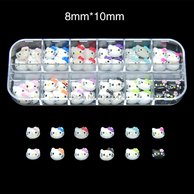 R010 60pcs/Set 3d hello kitty cat nail art accessories rhinestone resin bow for nails mix box packing are choice 24 pcs chic flower bow bead rhinestone embellished impressional nail art false nails