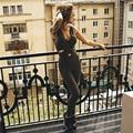 GERTU 2017 Elastic Sporting Fitness Backless Jumpsuit Skinny Bodysuit Fashion Cross Bandage Slim Tracksuit Femme Macacao