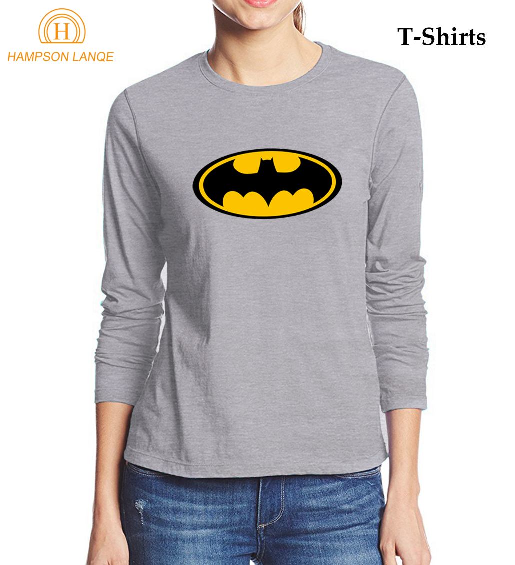 Super hero batman cartoon female t shirt 2017 autumn 100 for Women s 100 cotton long sleeve tee shirts