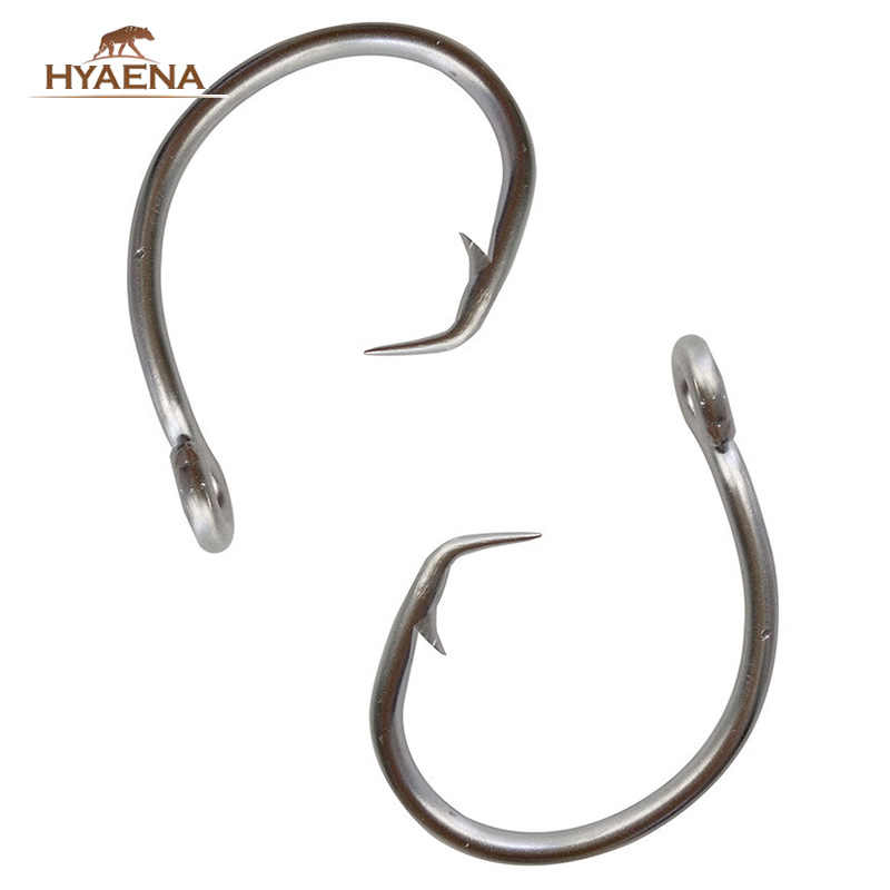 Hyaena 100pcs 39960 Stainless Steel Fishing Hooks Big Game Fish Tuna Circle Bait Fishhooks Size 8/0-15/0