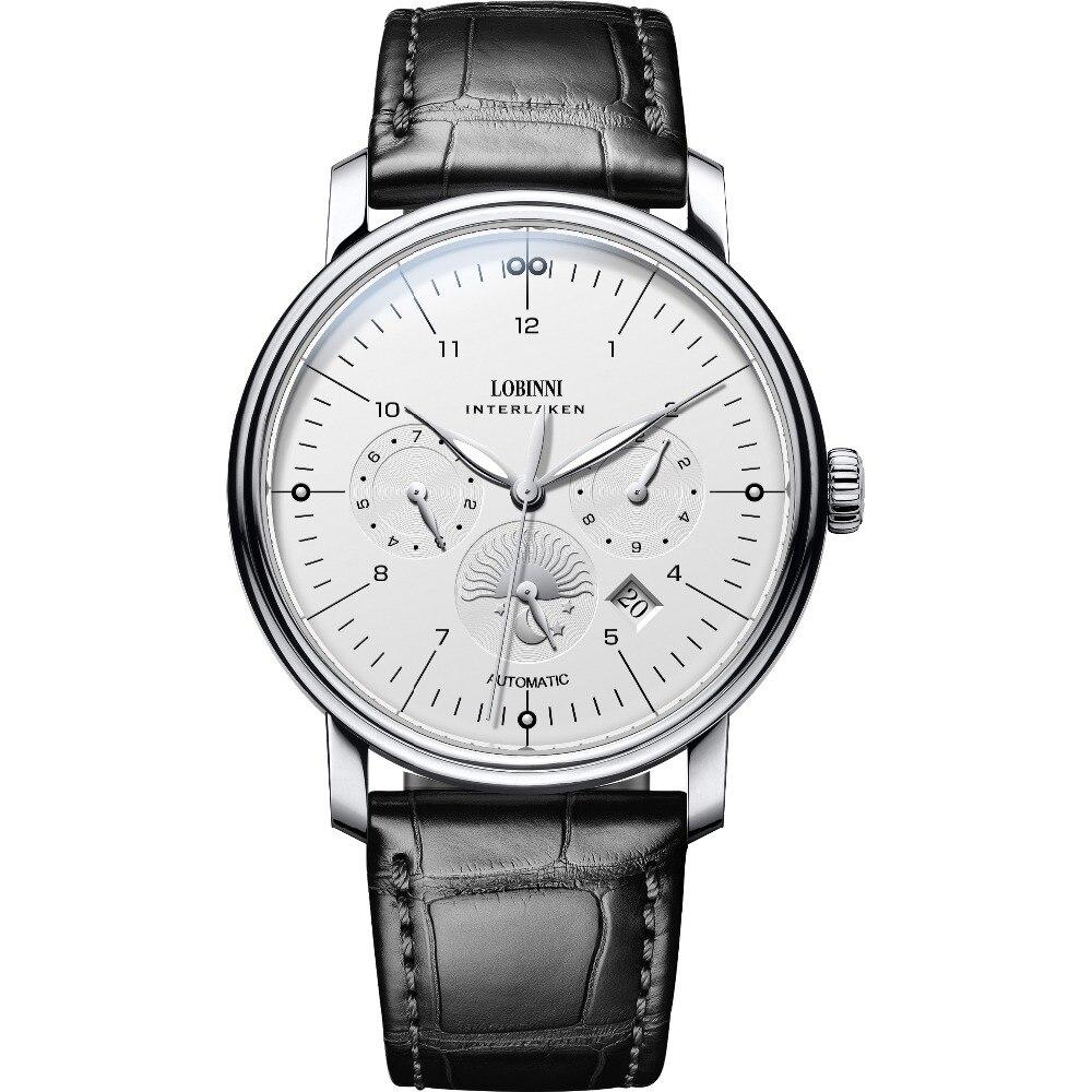 LOBINNI Men Business Waterproof Fashion Multifunction Automatic Self wind Mechanical Wrist Watch Month Week Date Leather