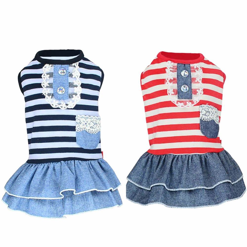 Summer Pet <font><b>Dog</b></font> Lovely Clothes Costume Stripe <font><b>Dress</b></font> Tutu Denim <font><b>Dress</b></font> <font><b>Dog</b></font> Wedding <font><b>Dress</b></font> <font><b>XS</b></font>- XL image