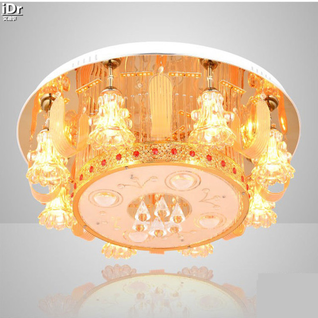 Led Crystal Lamp Living Room Bedroom Cozy Circular Fashion Gold Remote Control Lighting