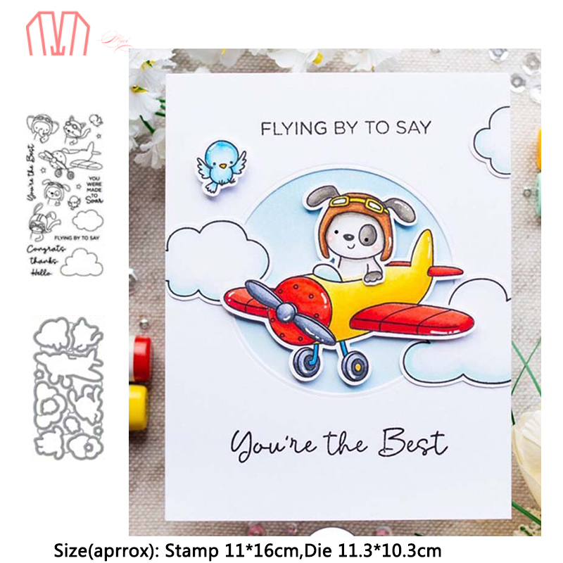 Mai Animal Airplane Metal Cutting Dies Stencils Cear Stamp For DIY Scrapbooking Photo Album Decorative Embossing DIY Paper Cards