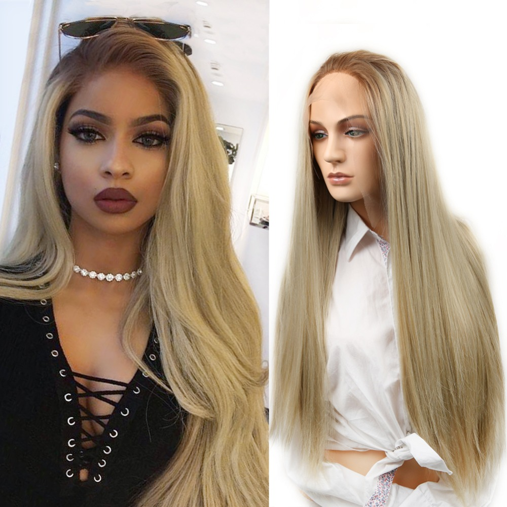 Wignee Long Straight Hair Lace Front Synthetic Wig For Women High Density Temperature Ombre Brown Natural
