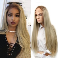 Wignee Long Straight Hair Lace Front Synthetic Wig For Women High Density Temperature Ombre Brown Natural Hair Cosplay Fake Wigs
