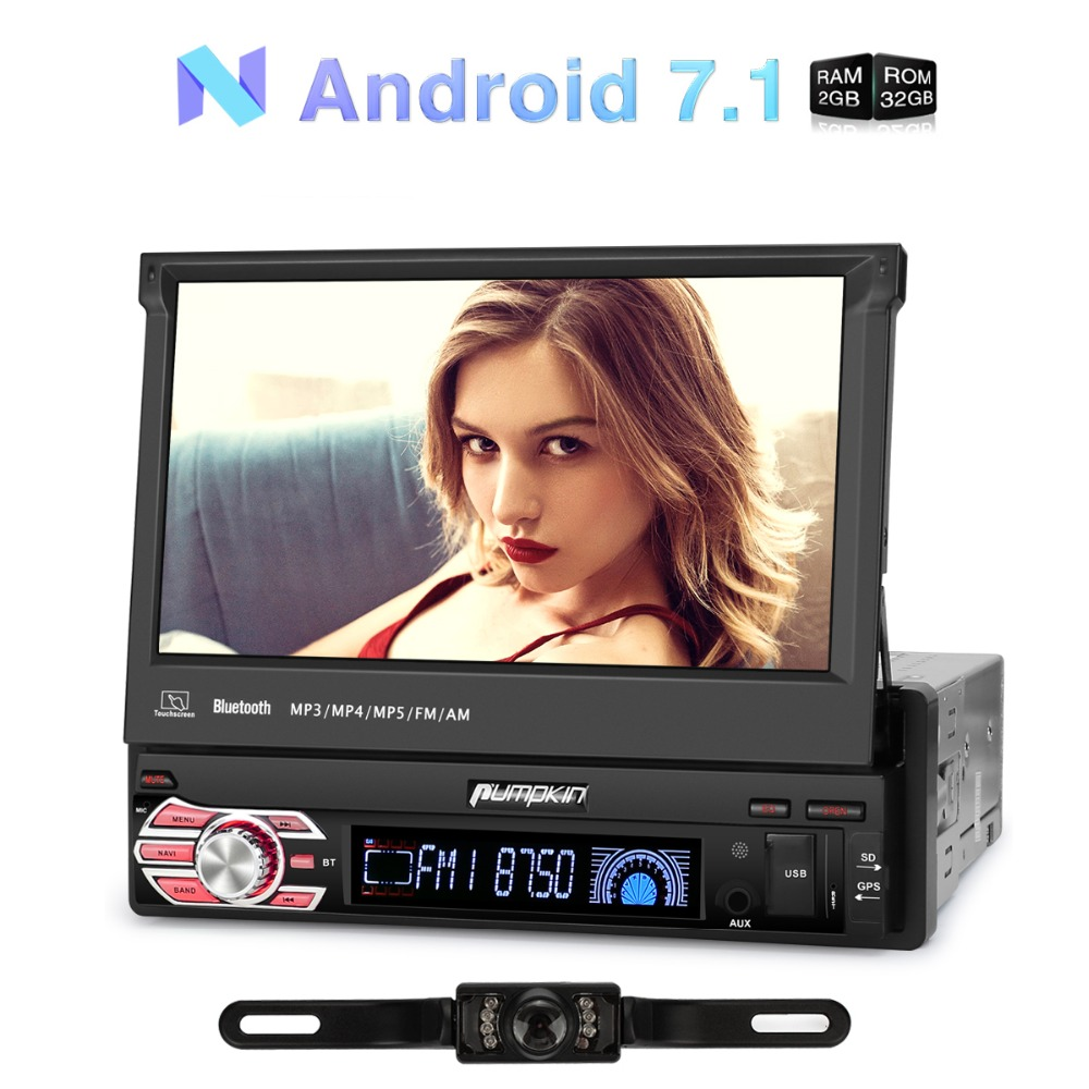 Pumpkin 1 Din 7''Android 7.1 Car Radio No DVD Player GPS Navigation Quad Core Car Stereo DAB+Wifi 3G Bluetooth Audio With Camera автомобильный dvd плеер 1 dvd hyundai ix45 dvd gps 3g wifi bluetooth