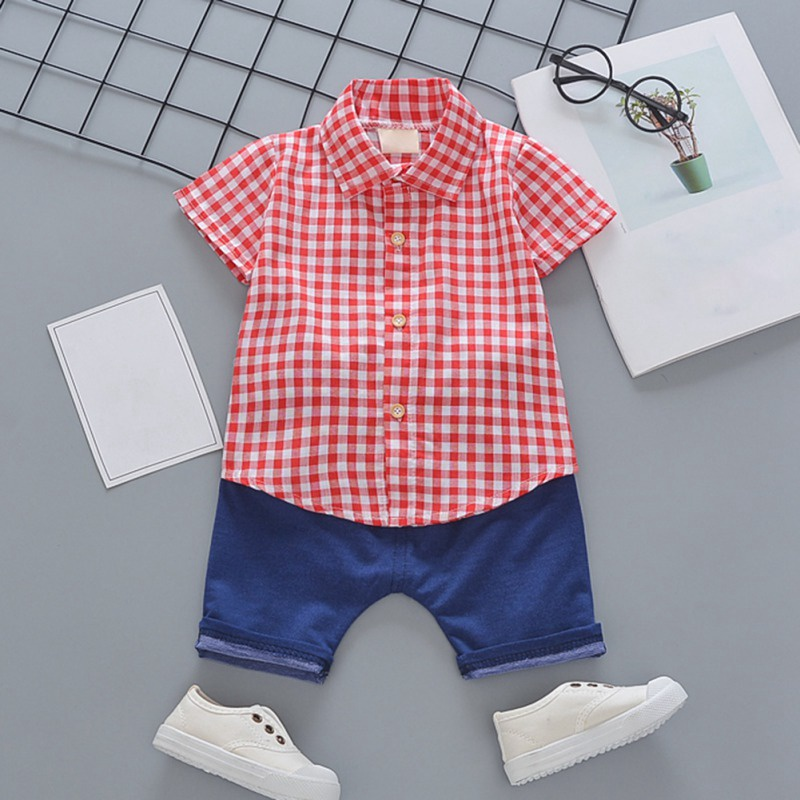 Toddler Boys Plaid Print Short Sleeve Tops with Shorts Outfit 32
