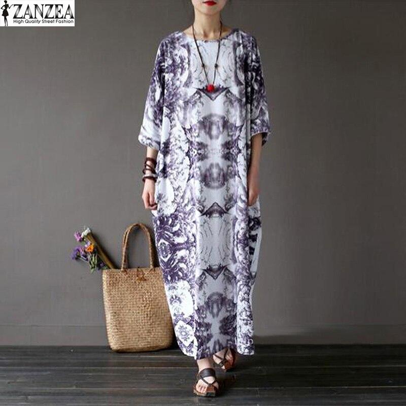 2018 Vestido ZANZEA Women Floral Print Maxi Long Dress Vinatge Ladies Casual Loose Party Kaftan Batwing Sleeve Boho Dress