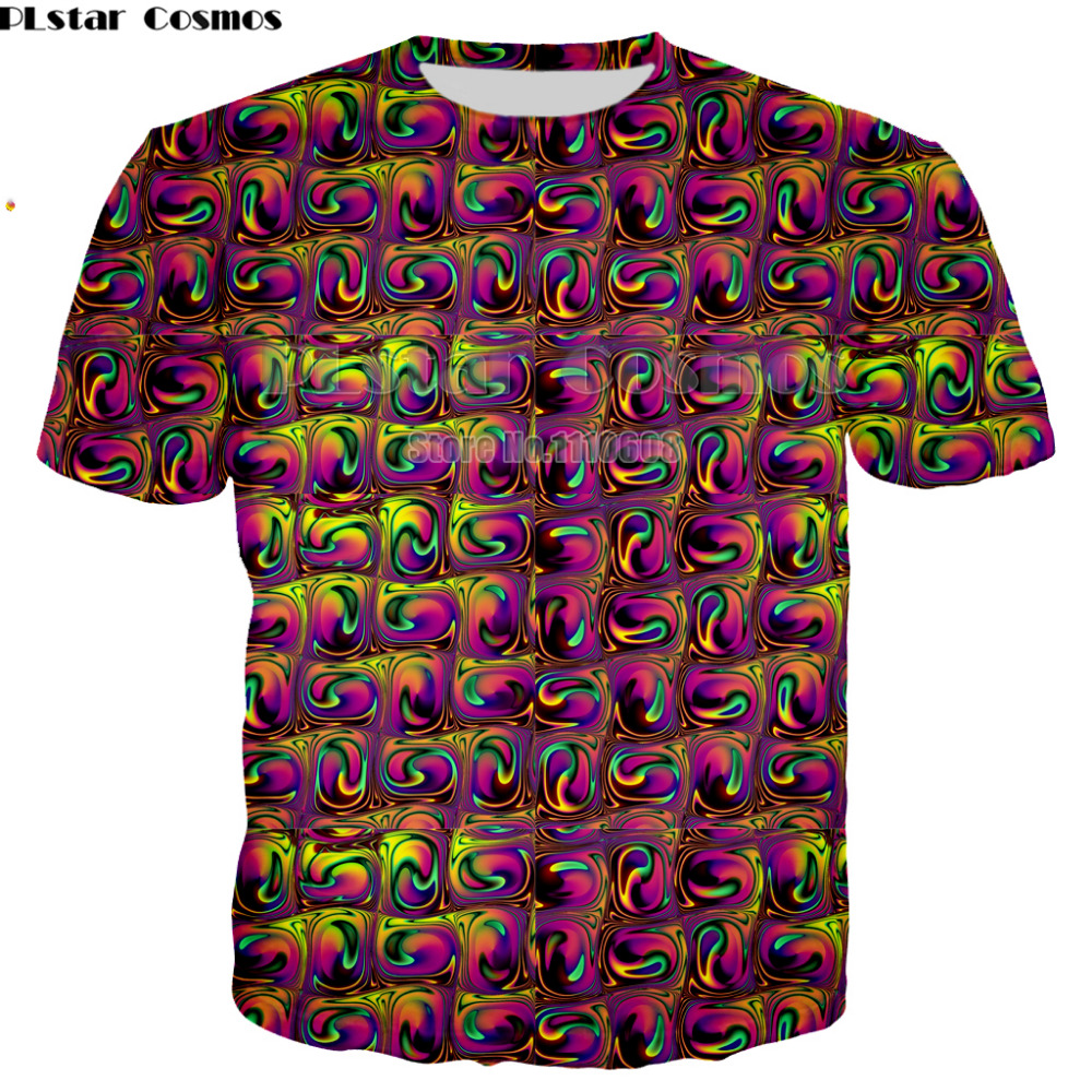 PLstar Cosmos 2018 Summer new Style Flashbacks T-Shirt colorful psychedelic 3D print Women/Men t shirt hip hop casual tees tops