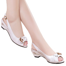 RGKWXYER New Womens Sandals Thick Heel Shallow Mouth Mid-heeled Shoes Sexy Fish High Heels Leisure Joker Female